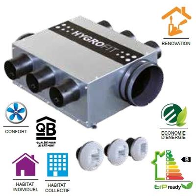 NATHER Kit VMC hygro B Hygrofit, logement T3-T7, bouches electrique 230 V, plat,très basse consommation Réf - 549373