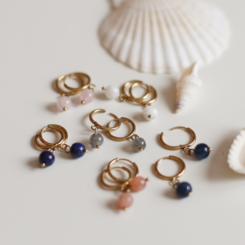 Earings with Natural Stones - Gold