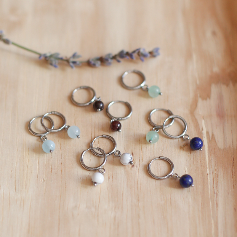 Earings with Natural Stones - Silver