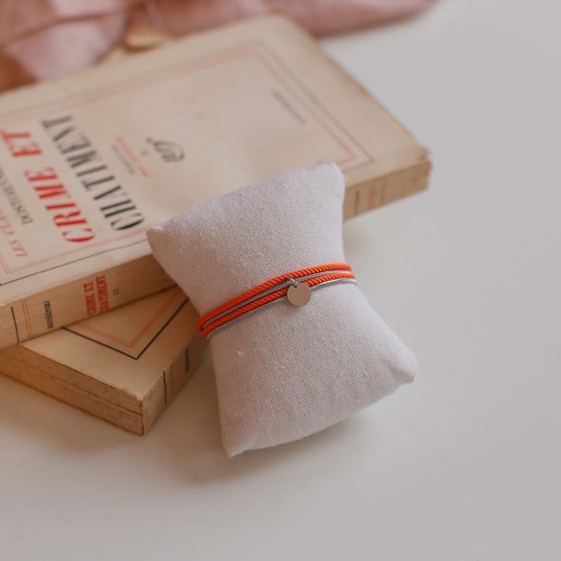 Valentine - Silver with rope Orange