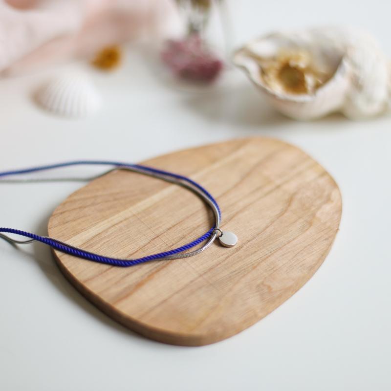 Valentine - Argenté avec corde Bleu Majorelle