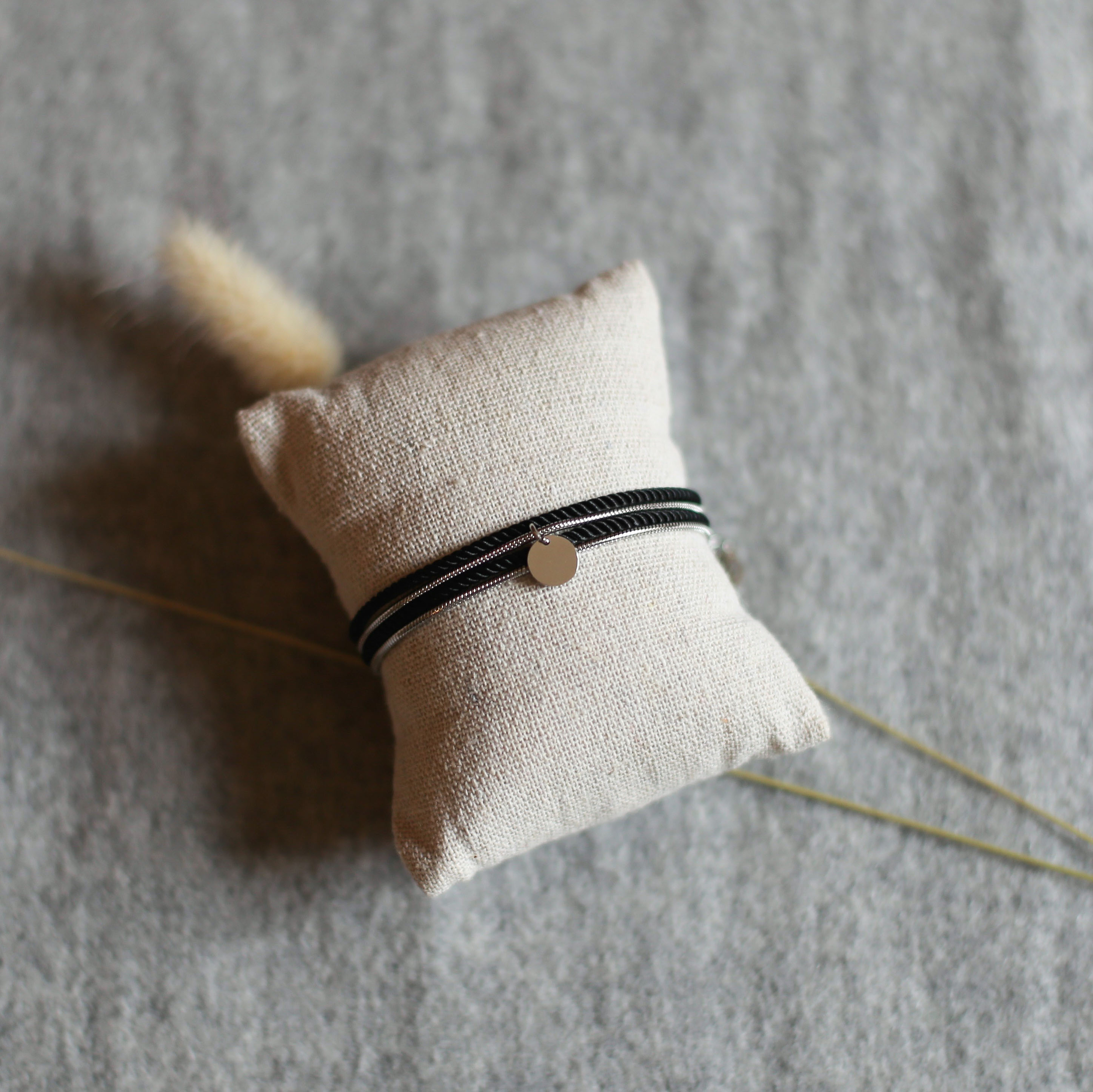 Valentine - Silver with Black rope