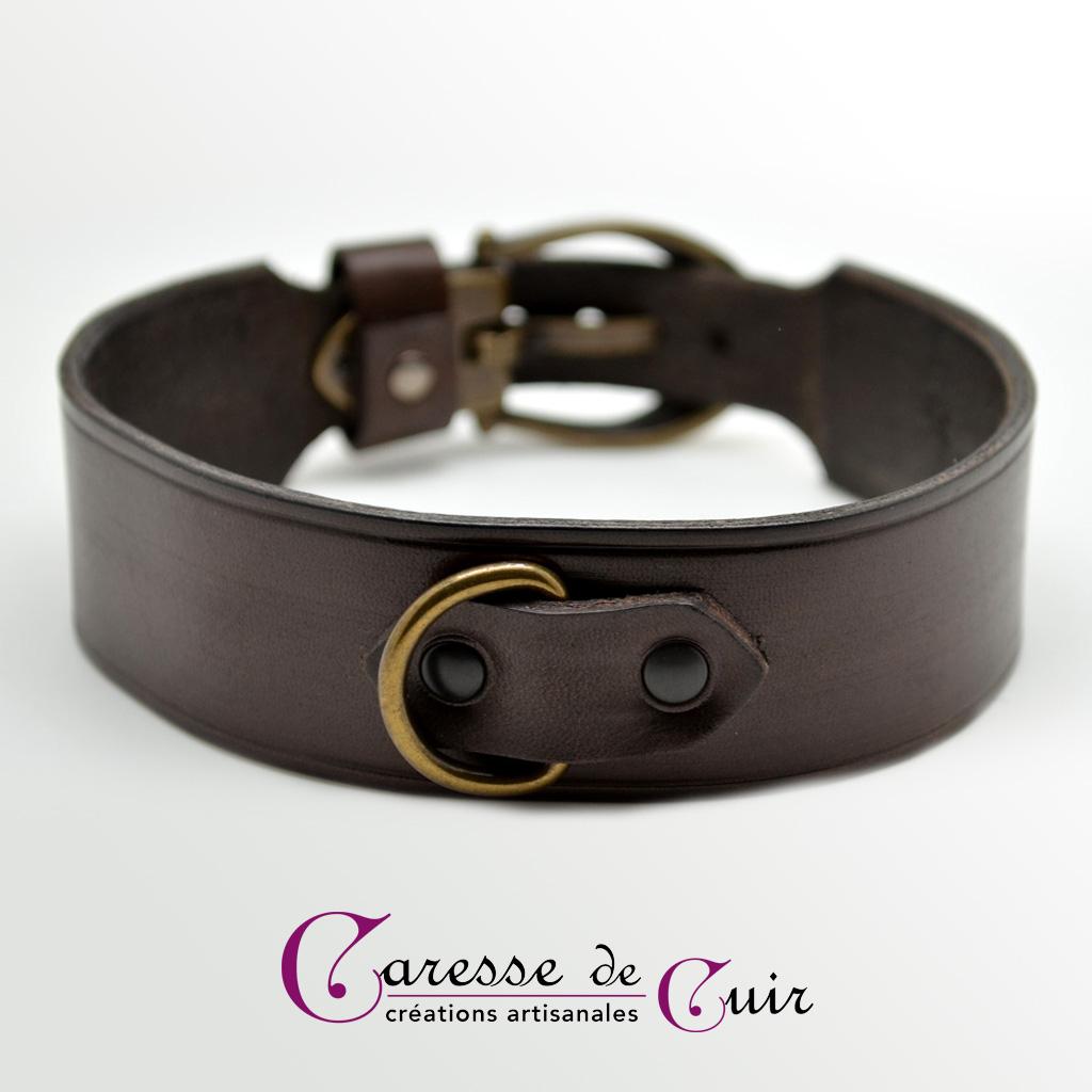 Collier SM en cuir marron  avec anneau couleur bronze