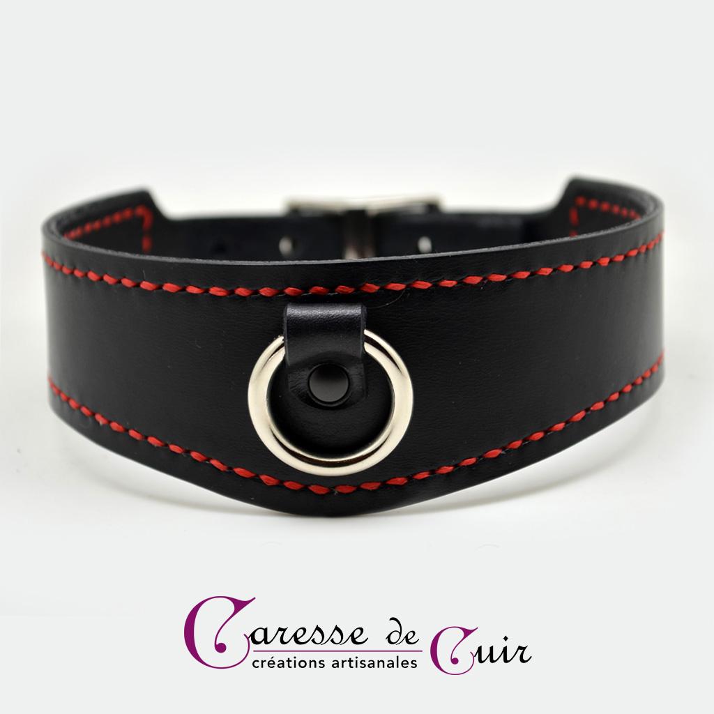 Collier SM en cuir avec couture Sellier et anneau argenté