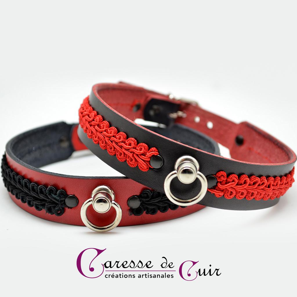 Collier SM cuir noir ou rouge  avec galon décoratif rouge ou noir
