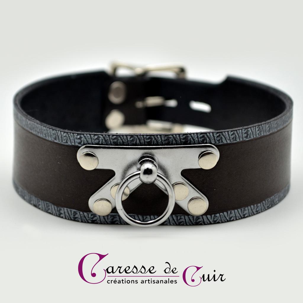 Collier SM en cuir noir et anneau chicago martelage argent