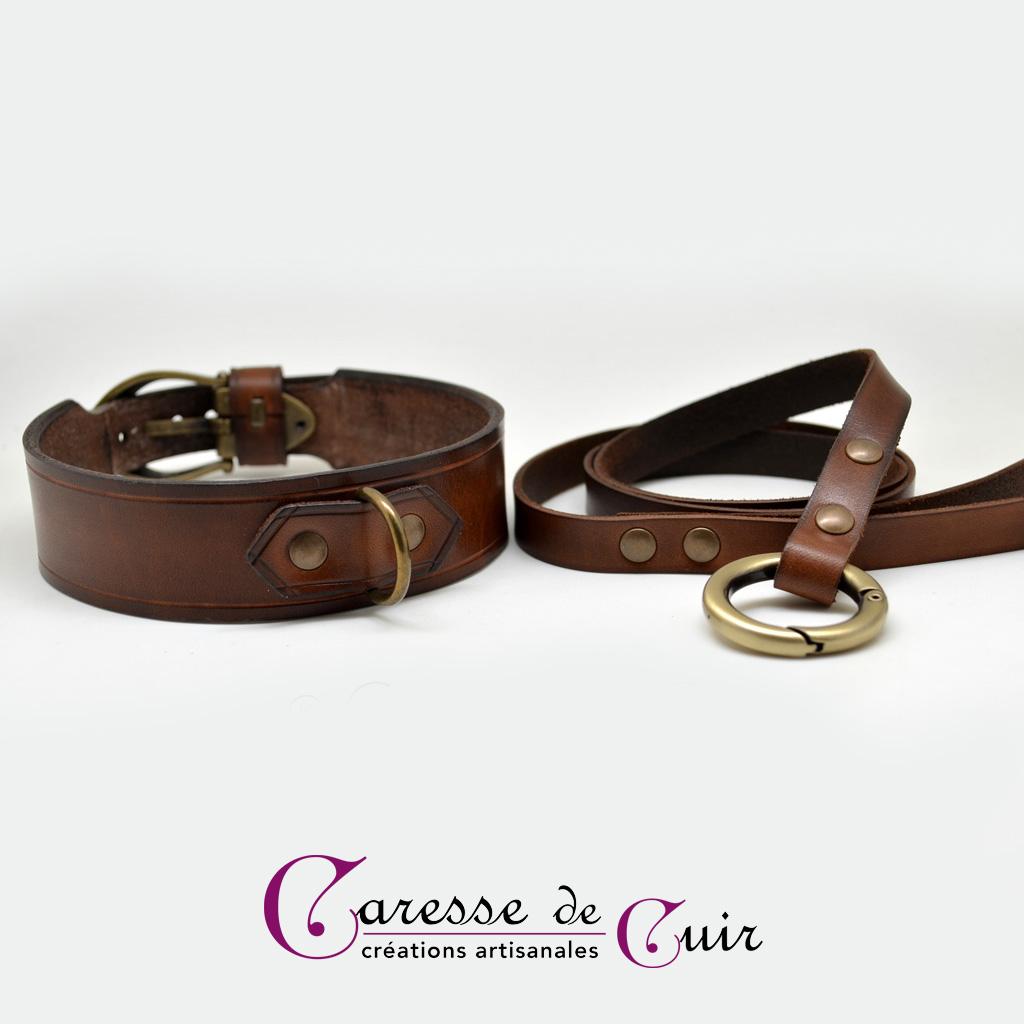 Ensemble collier SM avec laisse assortie en cuir marron