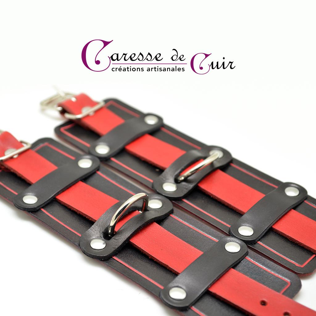 Bracelet SM en cuir avec anneau en D