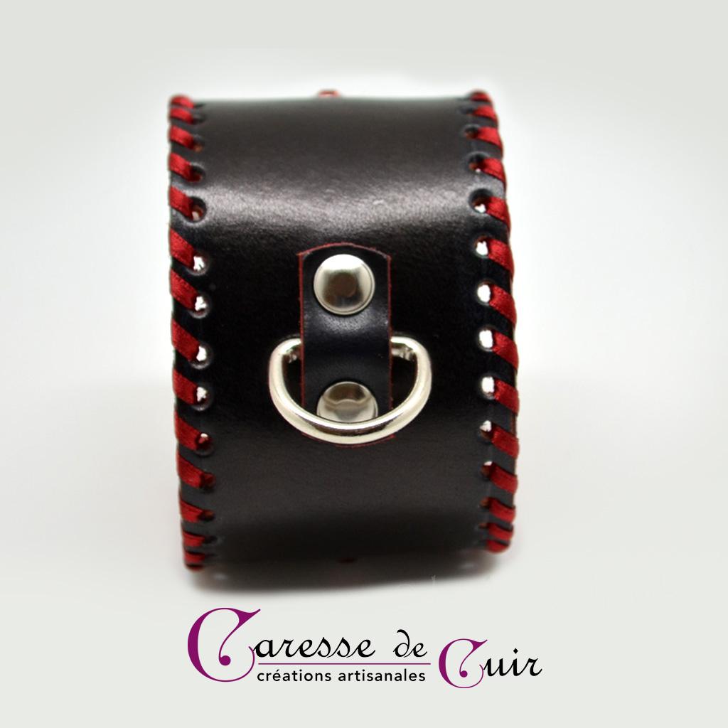 Bracelet de cheville SM en cuir rouge et noir