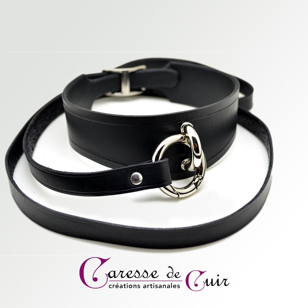 Ensemble collier SM avec laisse assortie en cuir noir