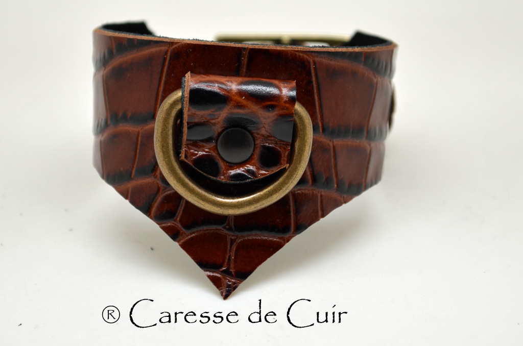 Bracelet BDSM cuir marron redoublé de cuir velours