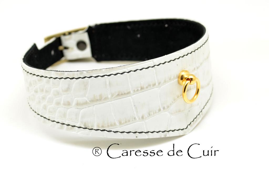 Collier sm en cuir blanc avec couture et verso noir