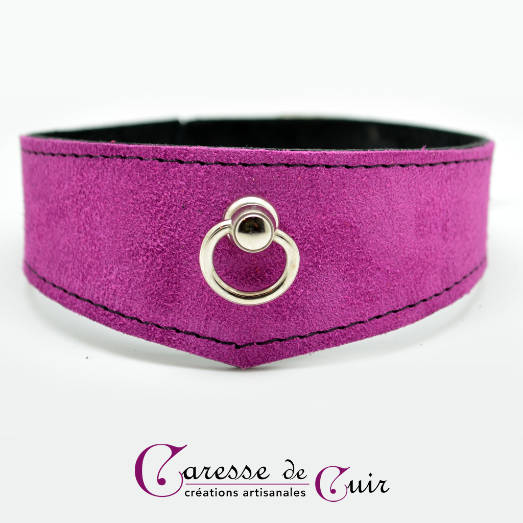 Collier SM en cuir velours violet