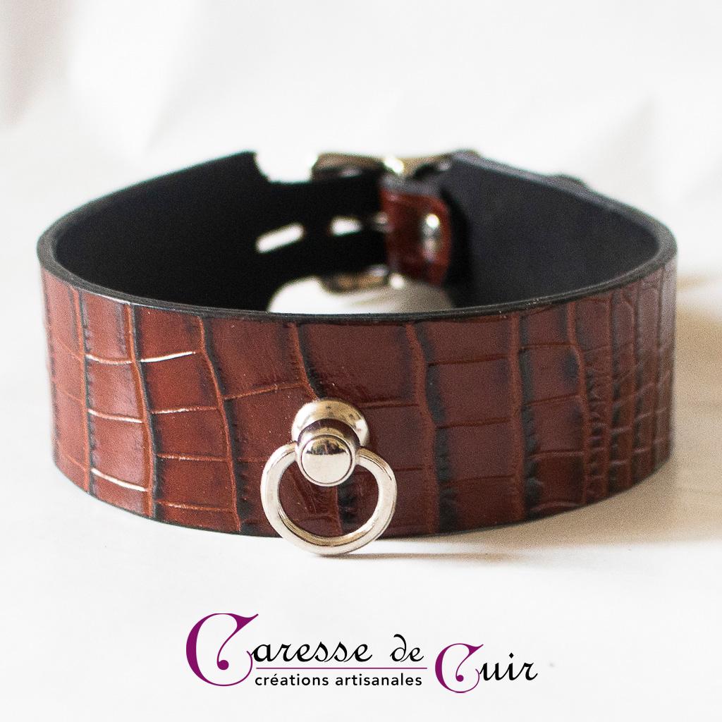 Collier en cuir marron façon croco et verso noir anneau argent