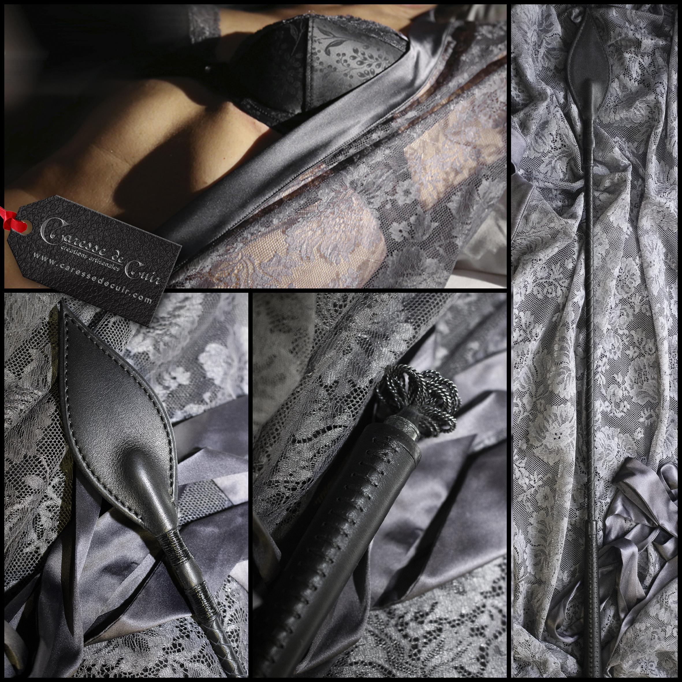 Cravache cuir noir