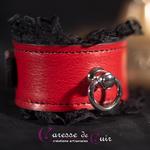 bracelet-SM-cuir-rouge-dentelle- noir-anneau-2