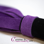 caresse de cuir - martinet  - violet et noir - cuir nubuck -3