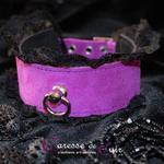 collier-tour-de-cou-SM-cuir-violet-dentelle-noire-3