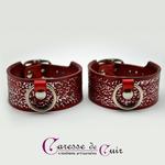 Paire-Bracelet-cuir-rouge-noir-martelage-argent-sm-anneau 2