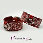 Paire-Bracelet-cuir-rouge-noir-martelage-argent-sm-anneau 1