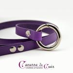 laisse-cuir-violet-anneau-mousqueton