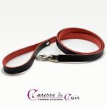 laisse-cuir-noir-et- rouge-mousqueton-1