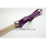 badine - cuir - violet - caresse de cuir