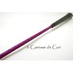 Cravache -cuir- bdsm - caresse de cuir - violet - noir - 3