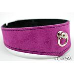 collier - cuir - velours violet - sm - anneau - doublure velours - 2