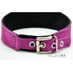 collier - cuir - velours violet - sm - anneau - doublure velours - 4
