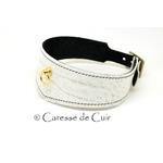 collier -bdsm - cuir - anneau - blanc - noir - couture - 2