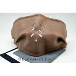 sur masque de protection en cuir avec 3 filtres double epaisseur en tissus lavable marron clair caressedecuir