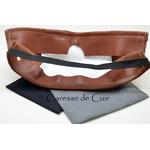 sur masque de protection en cuir avec 3 filtres double epaisseur en tissus lavable marron verso caressedecuir 1