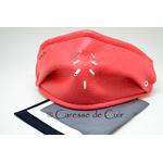 sur masque de protection en cuir avec 3 filtres double epaisseur en tissus lavable rose caressedecuir