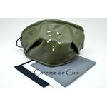 sur masque de protection en cuir avec 3 filtres double epaisseur en tissus lavable vert caressedecuir