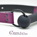 baillon mors silicone et cuir artisanal violet caresse de cuir-9