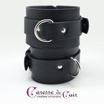 Paire de bracelets bdsm de seance en cuir noir chevilles 3