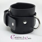 Paire de bracelets bdsm de seance en cuir noir chevilles 2