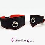 Collier-bracelet-sm-cuir-noir-rouge-caressedecuir