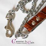 Collier-laisse-sm-marron-phyton-cuir-anneau-argent-5
