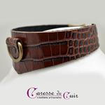 Caresse-de-cuir-ensemble - bracelets - Collier -sm-marron-phyton-cuir-09