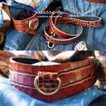 Caresse-de-cuir-ensemble - bracelets - Collier -sm-marron-phyton-cuir-A4