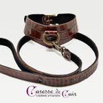 Caresse-de-cuir-ensemble - bracelets - Collier -sm-marron-phyton-cuir-14