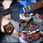 Caresse-de-cuir-ensemble - bracelets - Collier -sm-marron-phyton-cuir-Ap