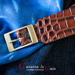 Caresse-de-cuir-ensemble - bracelets - Collier -sm-marron-phyton-cuir-A1