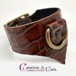 Caresse-de-cuir-ensemble - bracelets - Collier -sm-marron-phyton-cuir-13