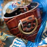 Caresse-de-cuir-ensemble - bracelets - Collier -sm-marron-phyton-cuir-A2