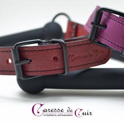 baillon mors silicone et cuir artisanal plusieurs couleurs caresse de cuir -2