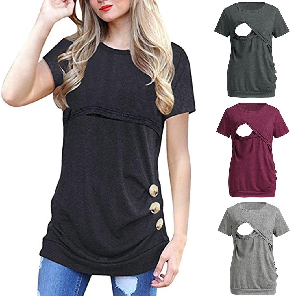 T-shirt de grossesse et d\'allaitement manche courtes avec boutons dorés - Livré en 48H/72H
