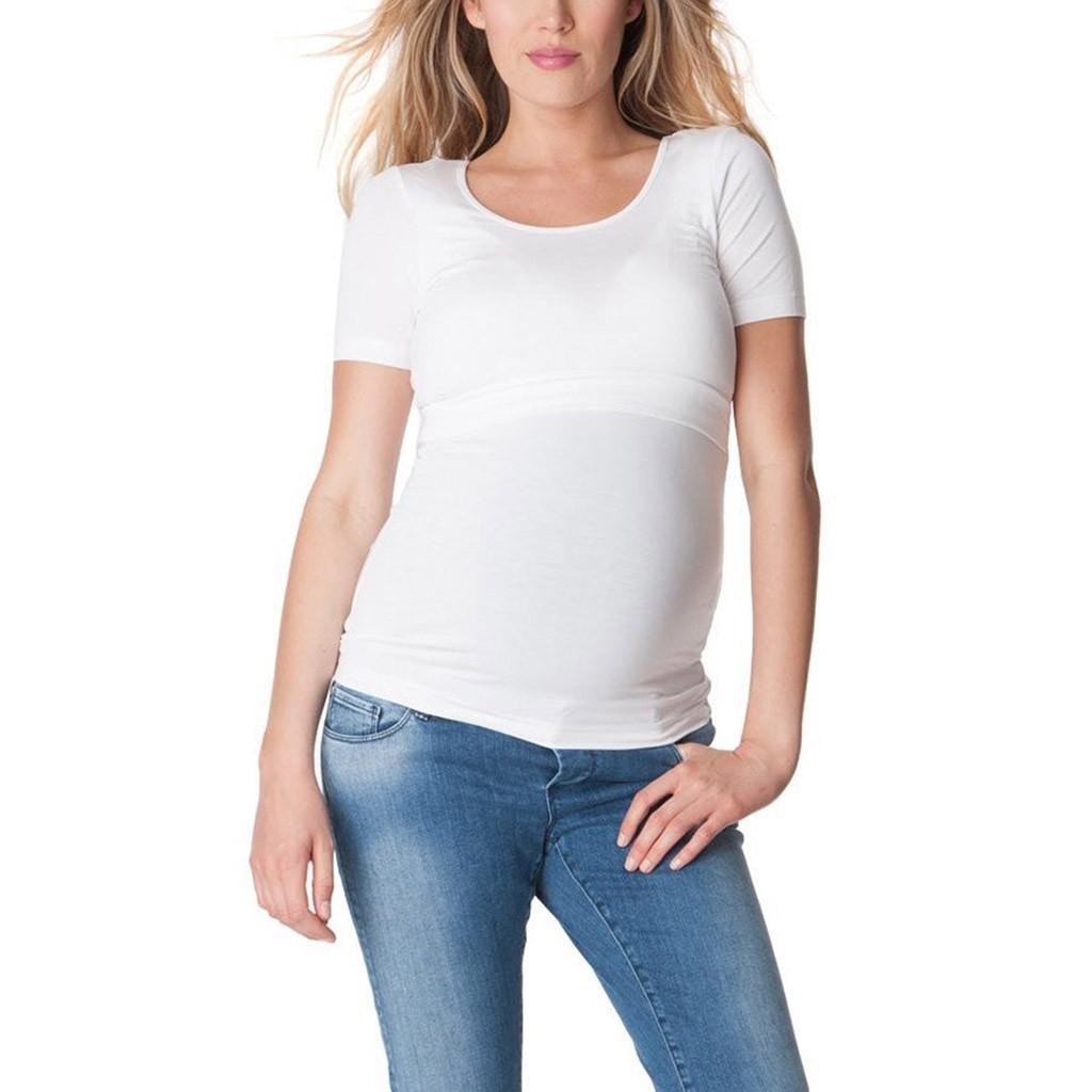 T-shirt de grossesse et d\'allaitement moulant manches courtes - Livré en  48H/72H